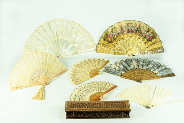 Seven fans in ivory, mother of pearl and tortoise shell