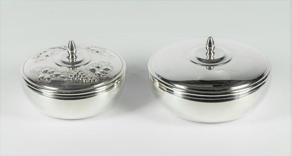 Due Scatole tonde in argento