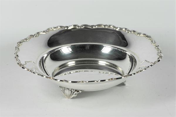 Round silver fruit bowl