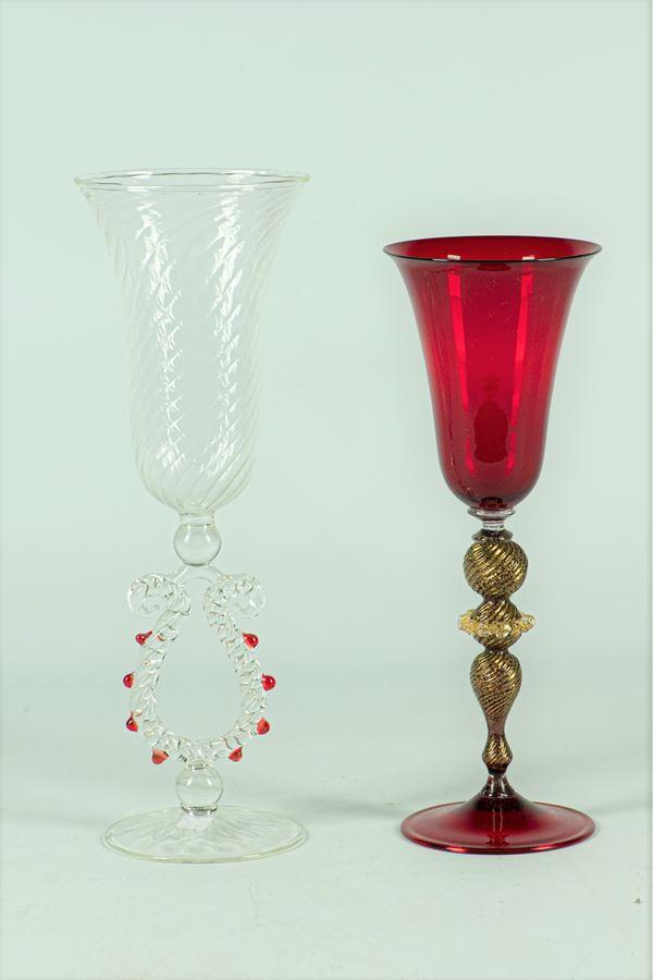 Two glasses in blown Murano glass
