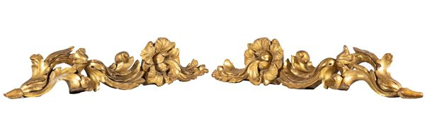 Two Louis XV friezes in gilded wood