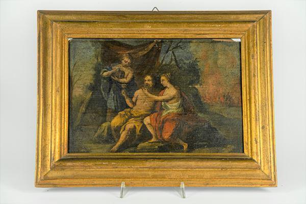 """Pittore Italiano Fine XVIII Secolo - """"Loth and the daughters"""""""