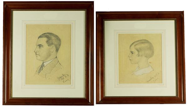 """Two Drawings """"Girl and man with mustache"""". Signed and dated"""