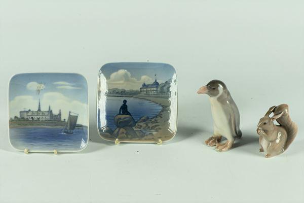 Royal Copenhagen polychrome porcelain lot