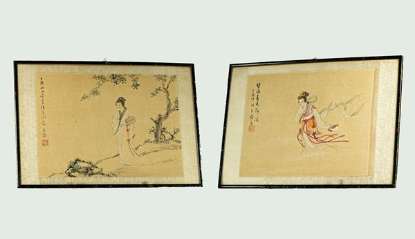 Pair of Chinese drawings on