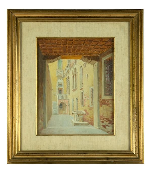 """Pittore Italiano XX Secolo - """"Interior of an ancient palace with courtyard"""" painted in oil"""
